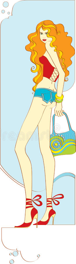 Menina magro ilustração royalty free