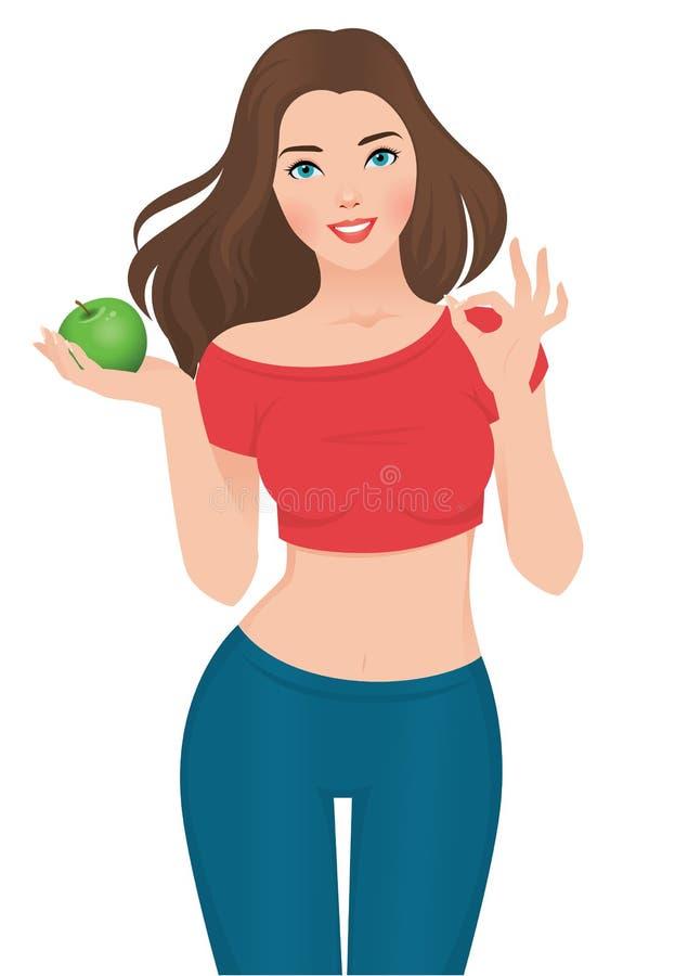 Menina magro bonita em uma dieta ilustração royalty free