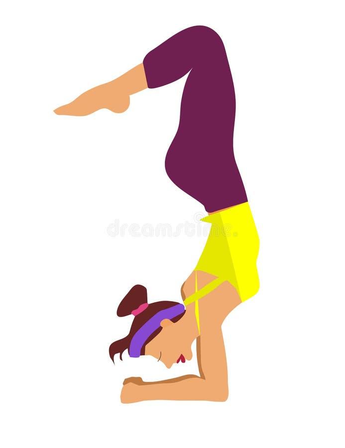 Menina magro, flexível nova que faz o esporte, ioga, aptidão, ginástica, esticando Ilustra??o lisa do vetor GR ilustração royalty free