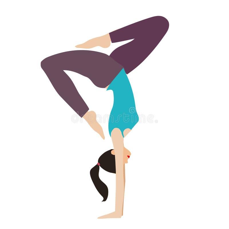 Menina magro, flexível nova que faz o esporte, ioga, aptidão, ginástica, esticando Ilustra??o lisa do vetor GR ilustração stock