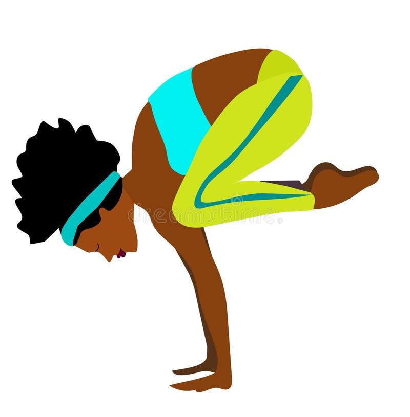 Menina magro, flexível nova que faz o esporte, ioga, aptidão, ginástica, esticando Ilustra??o lisa do vetor GR ilustração do vetor