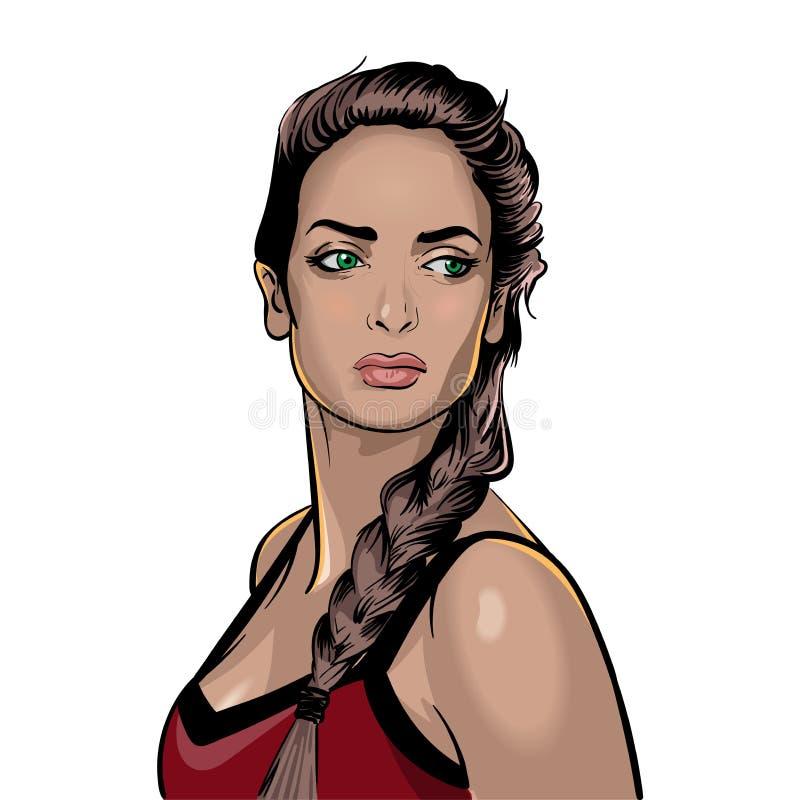 Menina magro Moreno de olhos verdes com um olhar pensativo ilustração royalty free