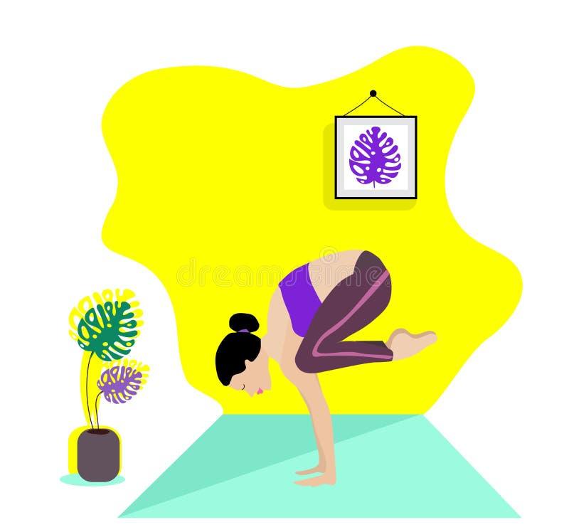 Menina magro nova que faz o esporte, ioga, aptidão, ginástica, esticando na sala interior na moda Ilustra??o lisa do vetor Grac ilustração do vetor