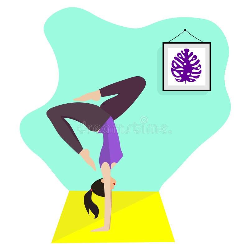 Menina magro nova que faz o esporte, ioga, aptidão, ginástica, esticando na sala interior na moda Ilustra??o lisa do vetor Gracio ilustração stock