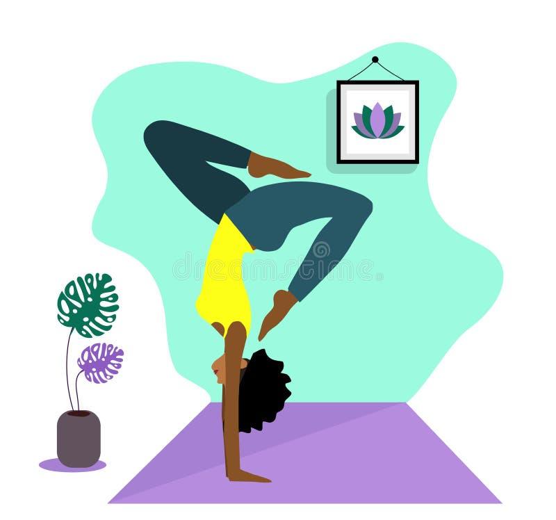 Menina magro nova que faz o esporte, ioga, aptidão, ginástica, esticando na sala interior na moda Ilustra??o lisa do vetor Gracio ilustração royalty free