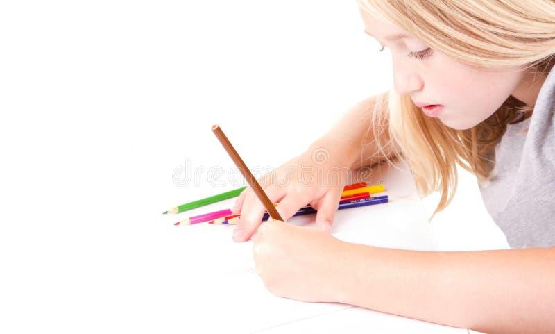 Menina mais idosa ou desenho adolescente fotografia de stock