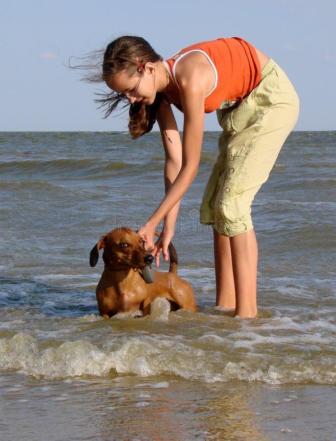 A menina, mar da extremidade de cão imagens de stock royalty free