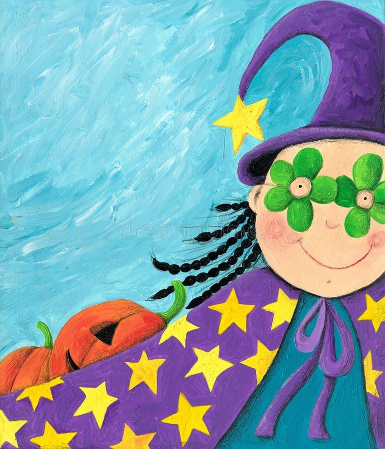 Menina mascarada engraçada em um carnaval ilustração do vetor