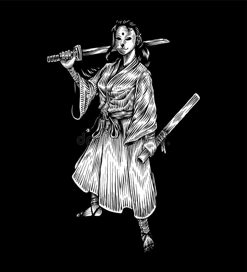 Menina mascarada ereta do samurai que guarda Katana, ilustração da tração da mão ilustração royalty free