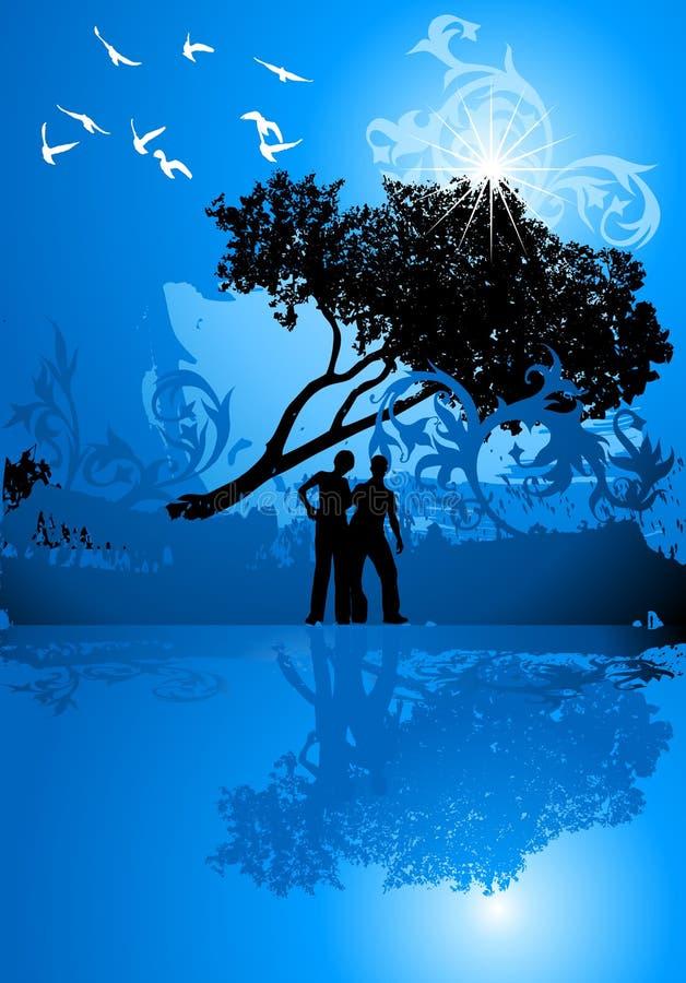 Menina, menino, árvore, água, pássaros ilustração stock