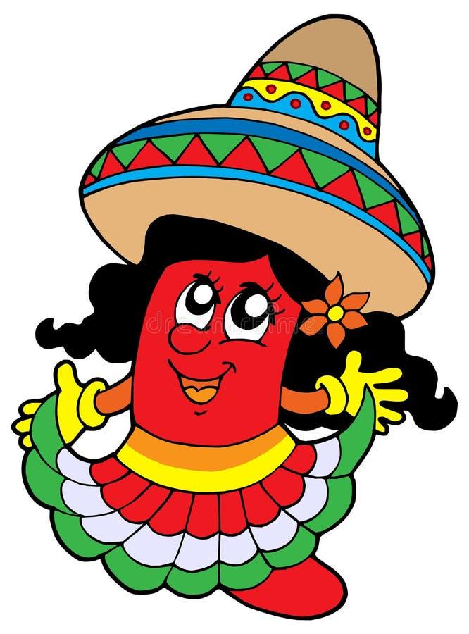 Menina mexicana bonito dos pimentões ilustração do vetor