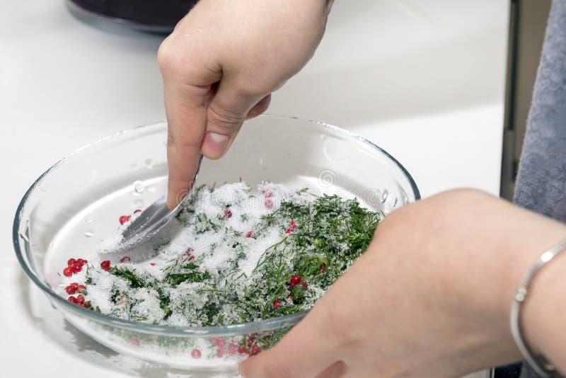 A menina mistura uma mistura do açúcar, sal, ervas, pimenta, prepara o brin fotografia de stock royalty free