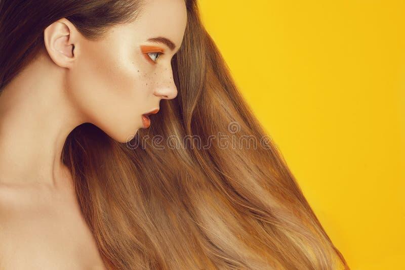 Menina modelo bonita com cabelo longo marrom e reto brilhante Endireitamento da queratina Tratamento, cuidado e procedimentos dos fotografia de stock royalty free