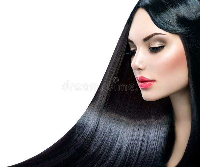 Menina modelo bonita com cabelo reto longo foto de stock royalty free