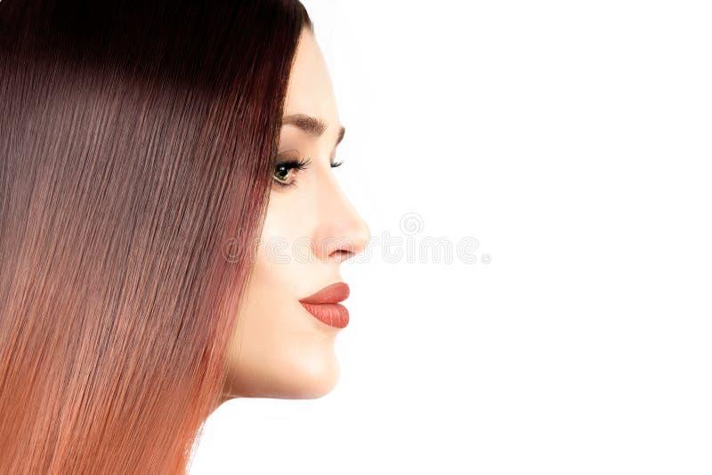 Menina modelo bonita com cabelo reto saudável Coloração de cabelo t fotografia de stock royalty free