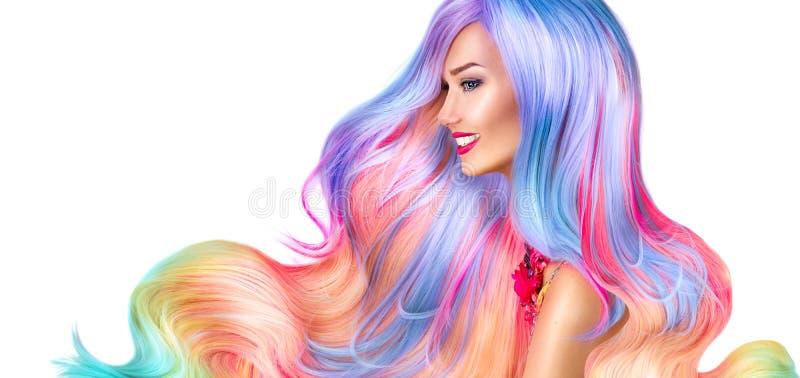 Menina modelo da beleza com cabelo tingido colorido fotografia de stock