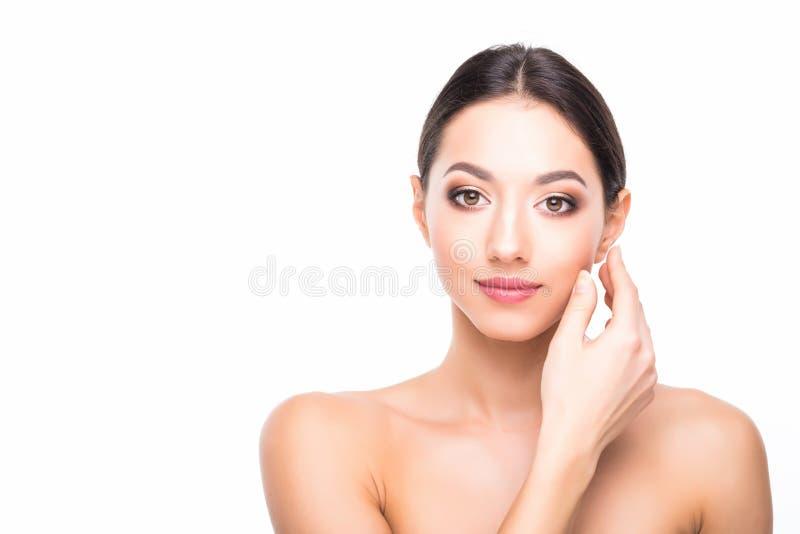 Menina modelo fêmea nova da beleza bonita bonita do conceito dos cuidados com a pele da beleza do retrato da cara da mulher que t imagem de stock royalty free