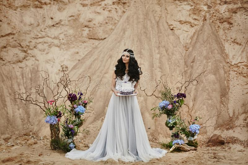 Menina modelo moreno bonita e elegante com joia em sua cabeça no vestido elegante do laço com o criativo e fotos de stock