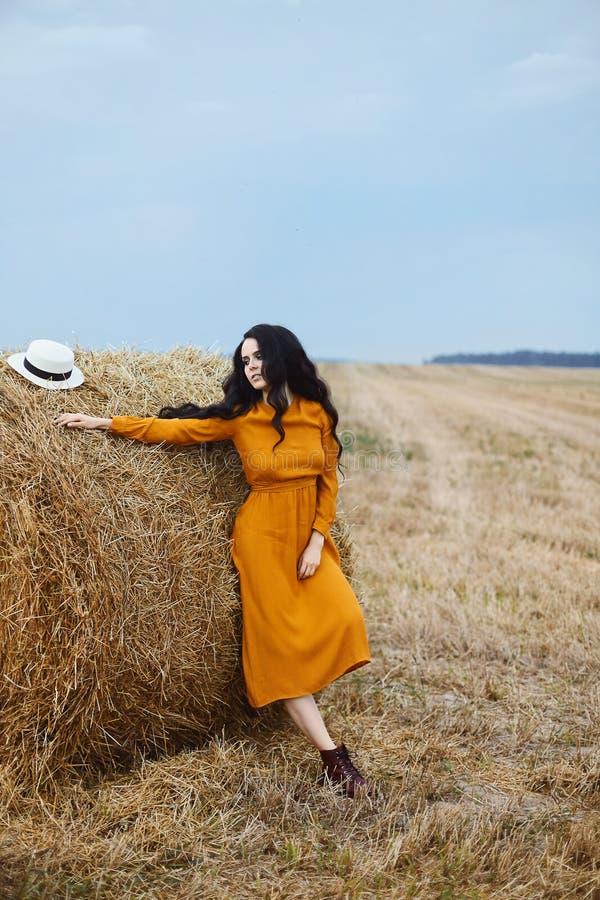 Menina modelo moreno bonita no vestido elegante da cor da mostarda que levanta perto da pilha de feno no campo fotos de stock