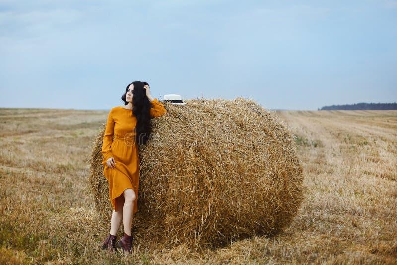 Menina modelo moreno bonita no vestido elegante da cor da mostarda que levanta perto da pilha de feno no campo foto de stock royalty free