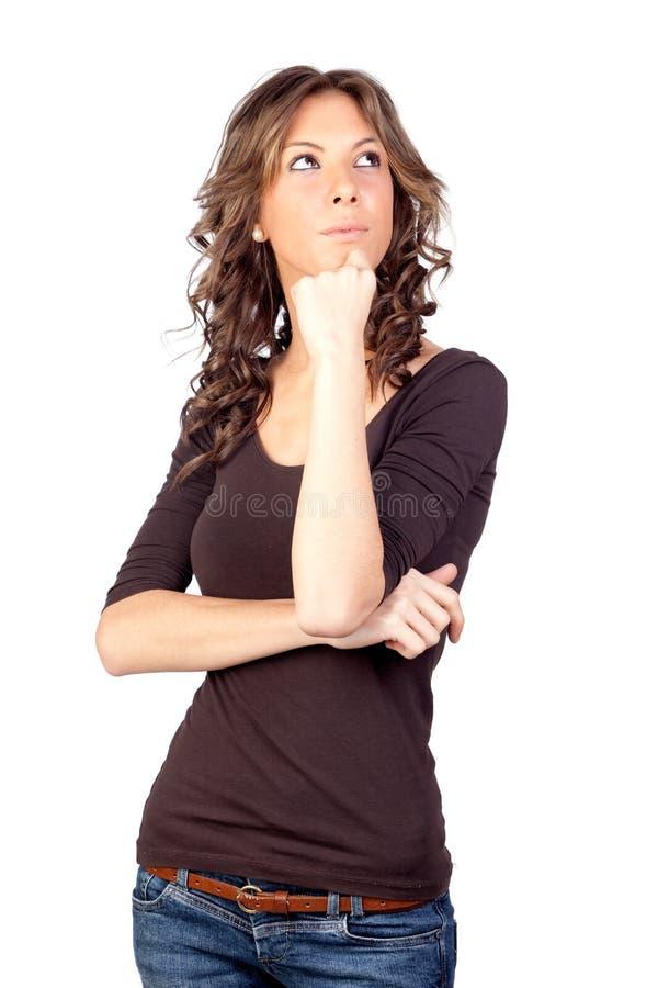 Menina modelo pensativa fotografia de stock royalty free