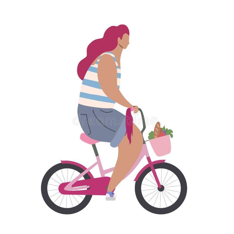 Menina moderna ativa do moderno em uma bicicleta cor-de-rosa com compra Opinião lateral da ilustração lisa moderna Estilo de vida ilustração royalty free