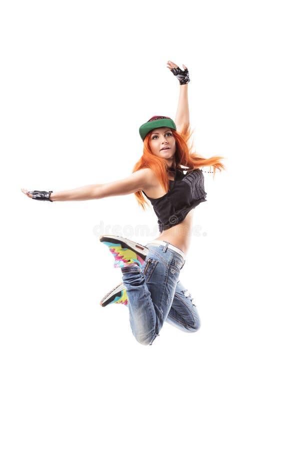 Menina moderna do hip-hop que está no fundo isolado imagens de stock