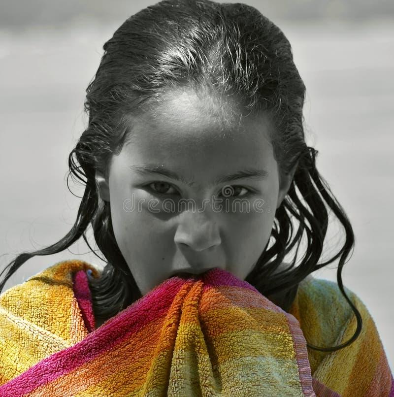 Menina molhada irritada fotografia de stock royalty free