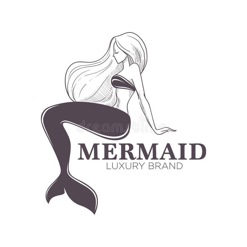Menina monocromática isolada do ícone da sereia tipo marinho com fishtail ilustração do vetor