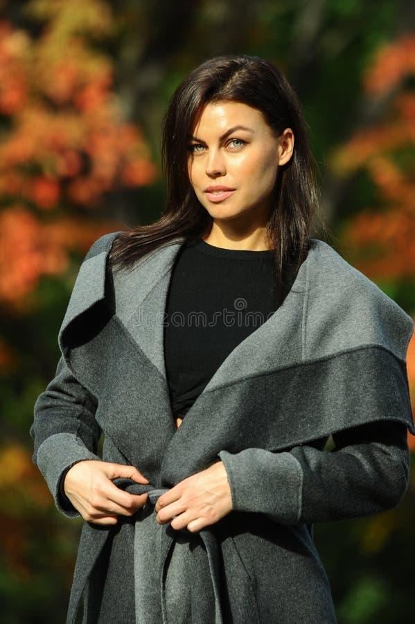 Menina moreno à moda elegante no revestimento elegante foto de stock royalty free