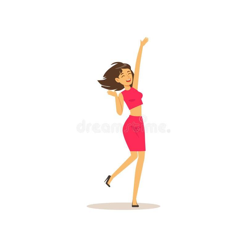 Menina moreno bonita no movimento da dança Caráter fêmea alegre que tem o divertimento no partido Dançarino da mulher vestido no  ilustração royalty free
