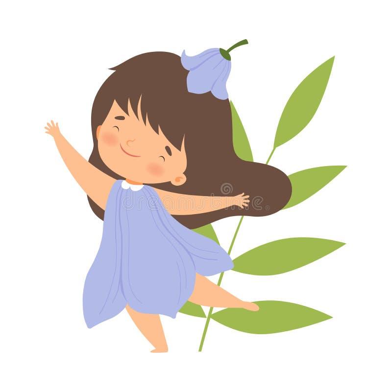 A menina moreno bonita que veste o traje da flor de Bell, criança adorável bonito no carnaval veste a ilustração do vetor ilustração stock