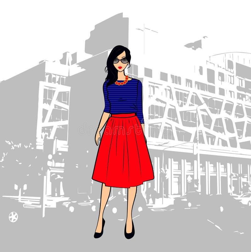 Menina moreno bonito elegante em uma saia listrada de midi da parte superior e do vermelho na cidade ilustração do vetor