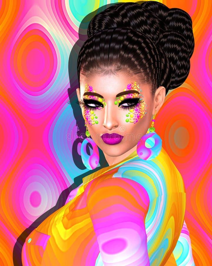 Menina moreno com por muito tempo, cabelo ondulado brilhante e composição colorida da forma ilustração royalty free