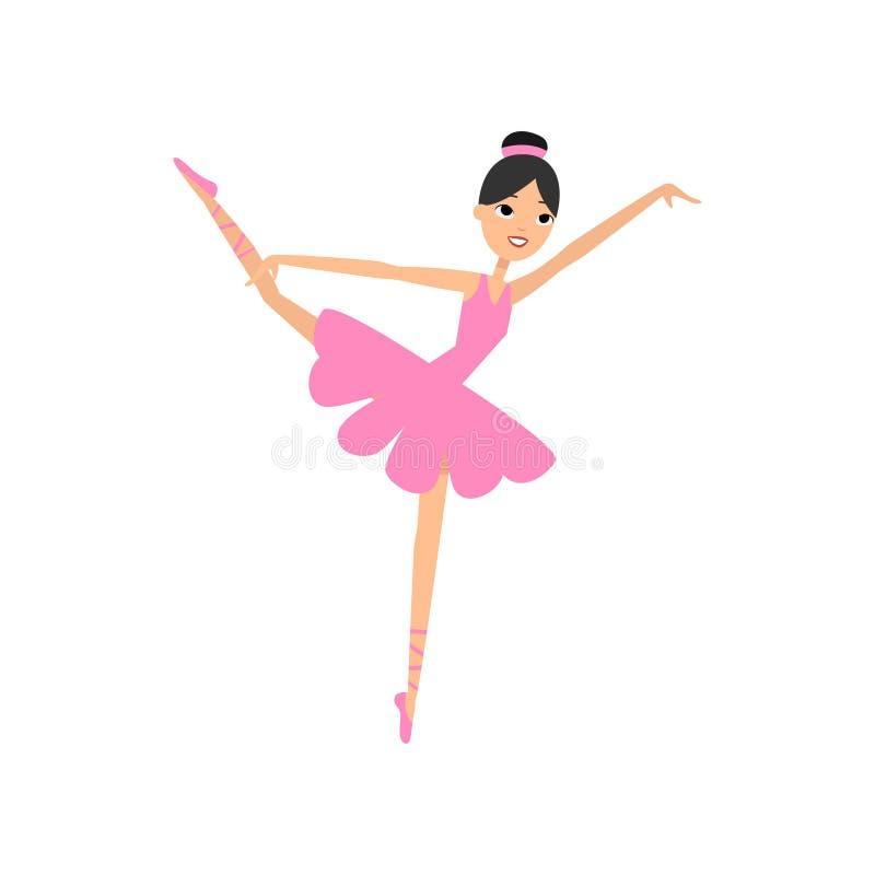 Menina moreno de dança bonito, vestido do rosa da bailarina ilustração royalty free