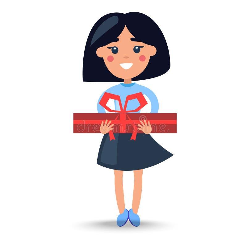 Menina moreno dos desenhos animados na saia com Giftbox grande ilustração do vetor