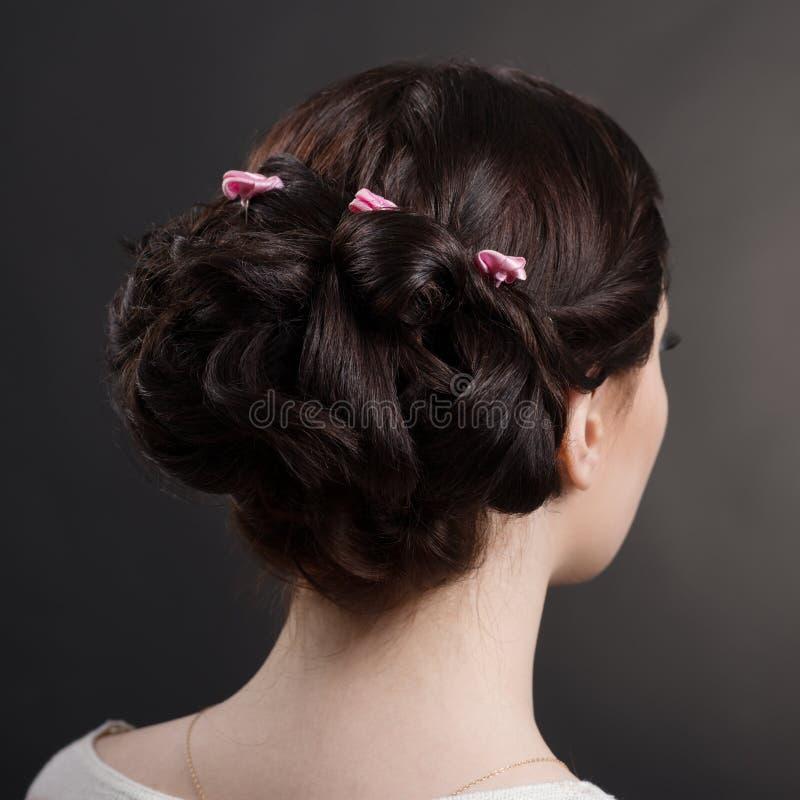 Menina moreno dos penteados no estúdio fotos de stock