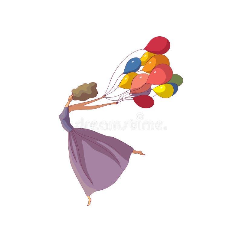 Menina moreno em uma dan?a longa do vestido com bal?es Ilustra??o do vetor no fundo branco ilustração royalty free