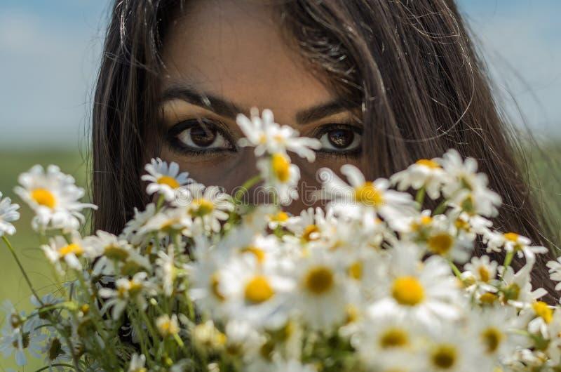 Menina moreno encantador nova com um ramalhete das camomilas de campo brancas em um dia ensolarado do verão fotos de stock royalty free