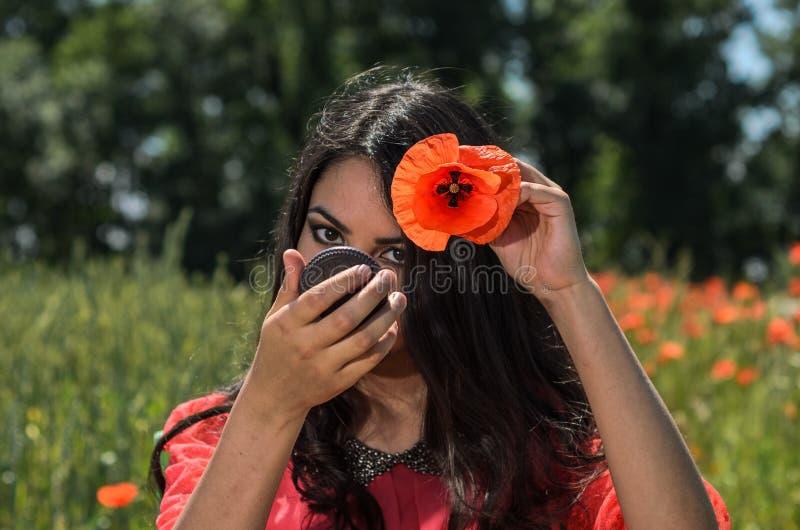 Menina moreno encantador nova que olha no espelho que faz um penteado com uma papoila vermelha em seu cabelo imagens de stock royalty free