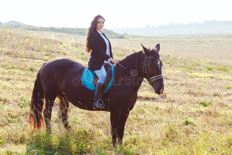Menina moreno lindo que veste a equitação elegante um cavalo no campo fotos de stock