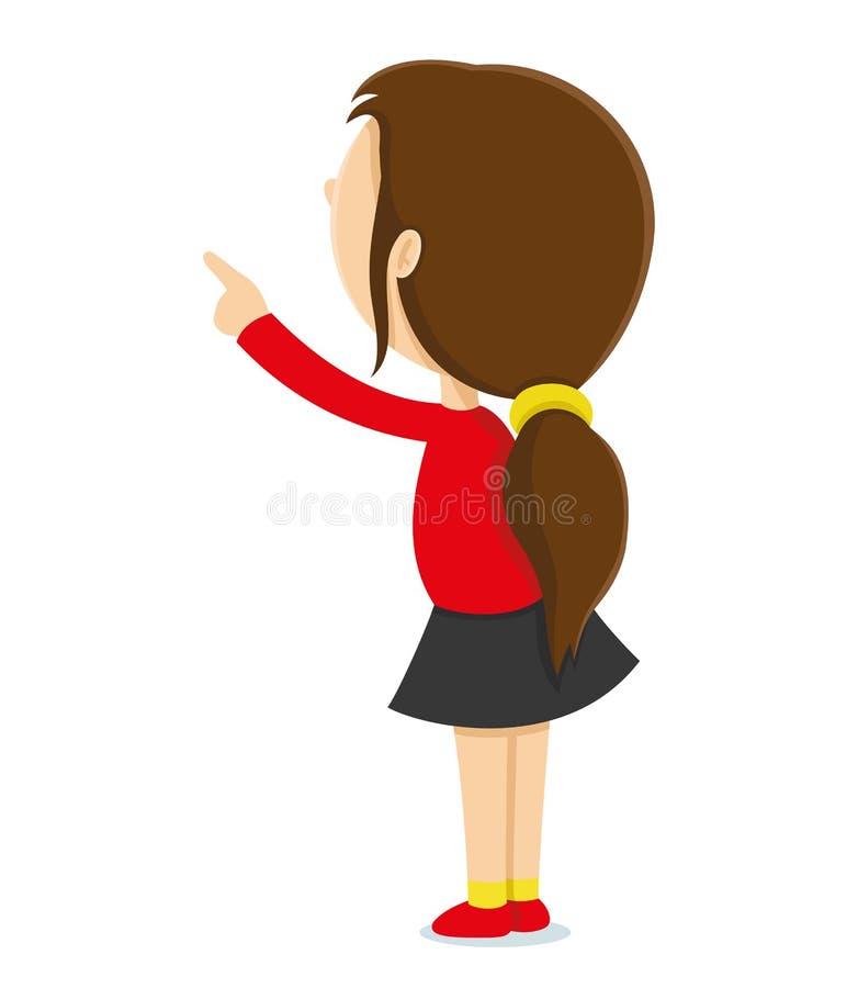 A menina mostra um dedo acima ilustração do vetor