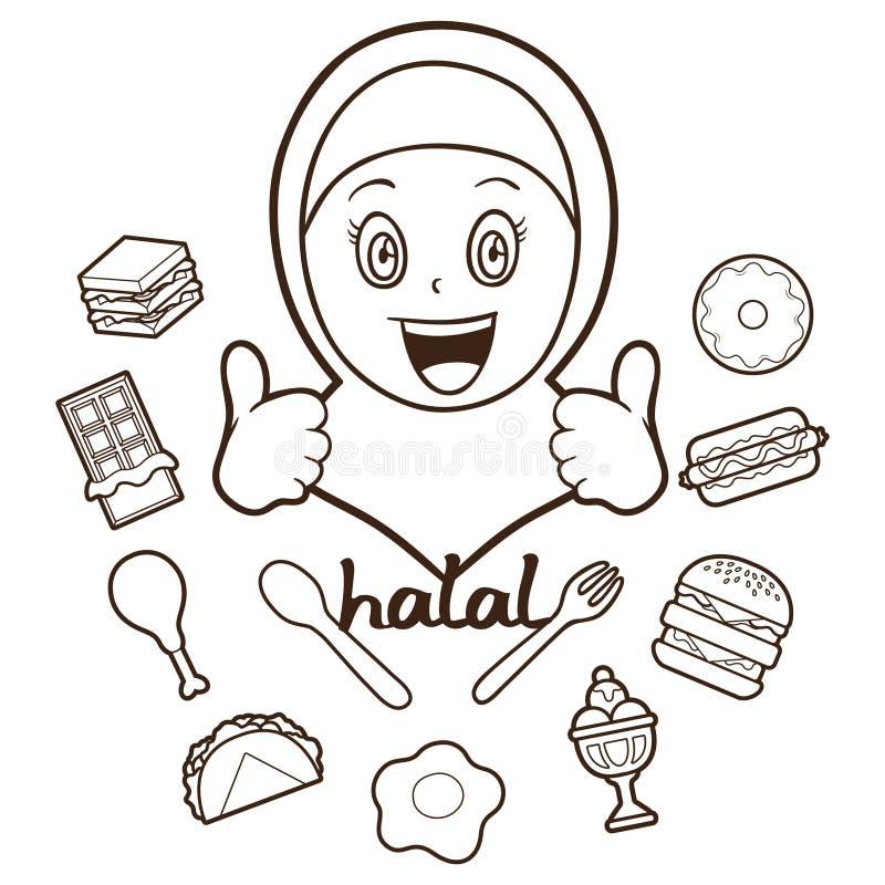 Menina muçulmana com alimento halal ilustração isolada do esboço ilustração do vetor
