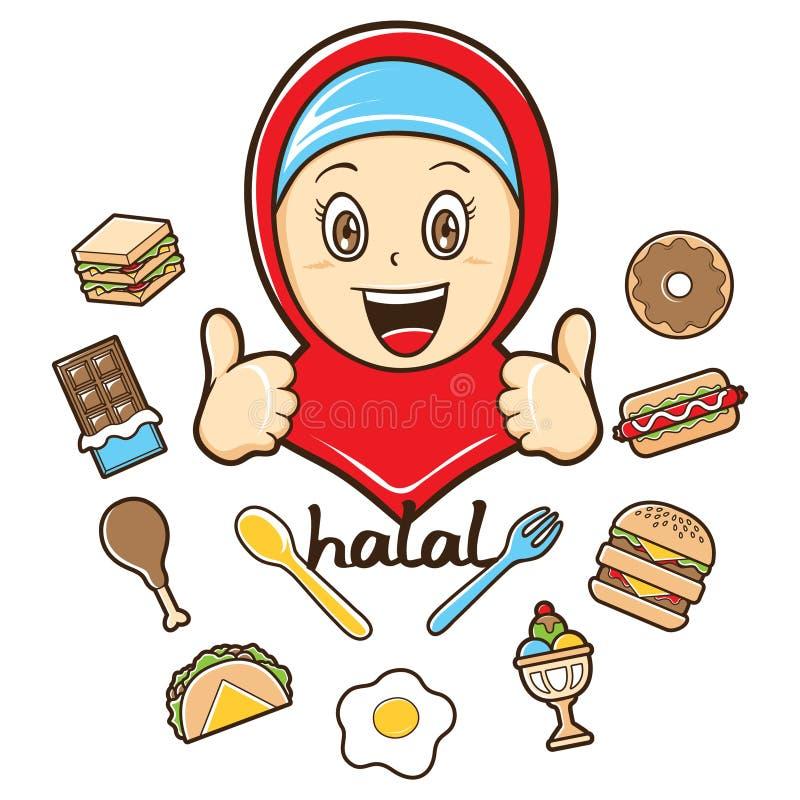 Menina muçulmana com ilustração do alimento ilustração stock