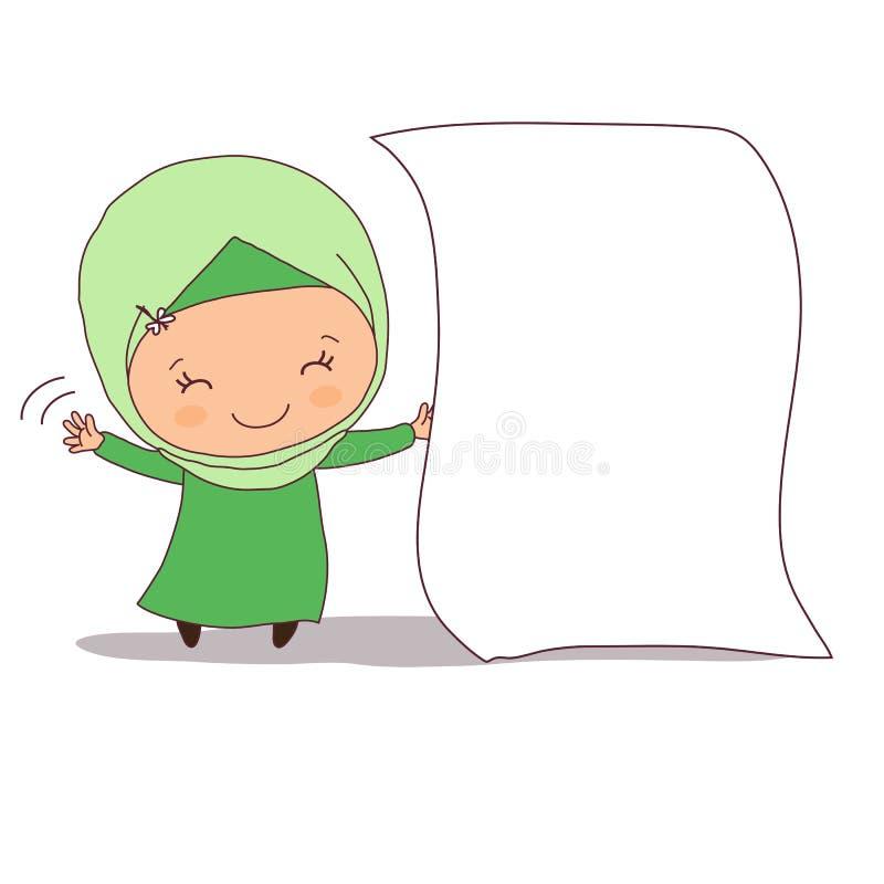 Menina muçulmana com uma folha do Livro Branco ilustração royalty free