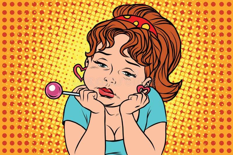 Menina muito triste do vintage com pirulito ilustração do vetor