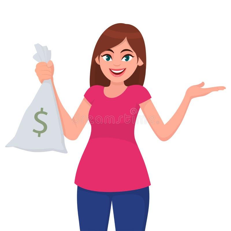 A menina, a mulher ou a terra arrendada/a moeda o dinheiro fêmea mostrar, o dinheiro ou notam o saco com o sinal de dólar e a mão ilustração stock