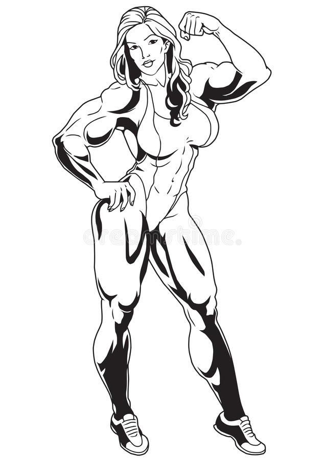 Menina muscular ilustração stock