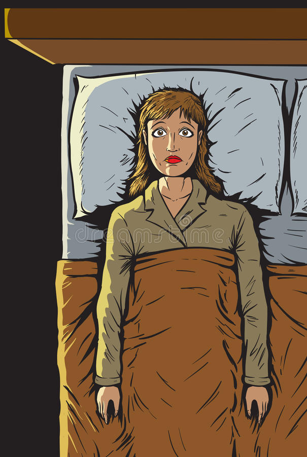 A menina não pode dormir ilustração stock