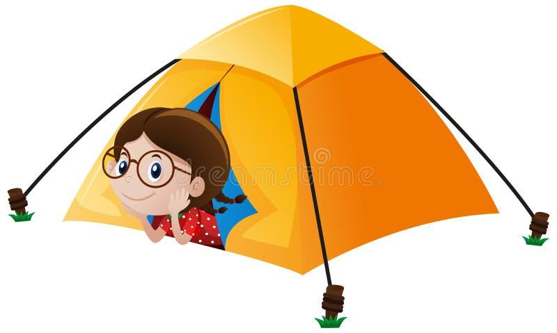 Menina na barraca amarela ilustração do vetor